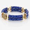 14k gold and lapis lazuli bracelet.