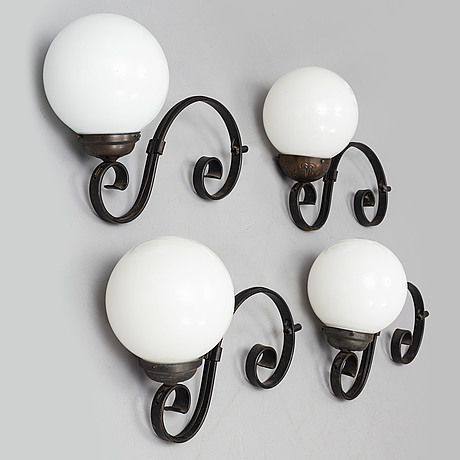 A set of four wall lamps from the second half of the 20th century