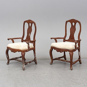 A pair of Swedish 18th century armchairs.