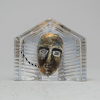 BERTIL VALLIEN, a glass 'Ansikte' sculpture, for Kosta Boda, signed and numbered.