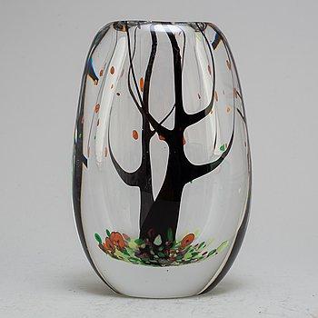 """VICKE LINDSTRAND, an """"Autumn"""" glass vase, Kosta, Sweden 1950-60's."""