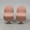 Verner panton, a pair of 'system 1 2 3' chairs, denmark, 1970's