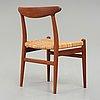 """Hans j wegner, a teak  """"w2"""", chair for cm madsen, denmark 1950's."""