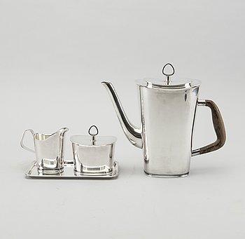 KAFFE- /TESERVIS, 4 delar, silver, GAB, 1960-tal. Total vikt ca 1200 gram.