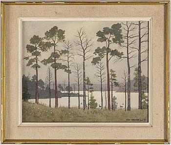 OSKAR BERGMAN, akvarell, signerad och daterad April 1960.