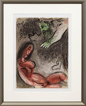 MARC CHAGALL, colour lithographe, unsigned, from Verve vol X no 37-38.