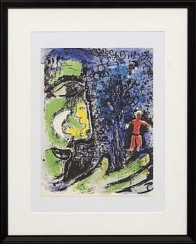 MARC CHAGALL, colour lithographe, unsigned, from Chagall Lithographe I 1960.