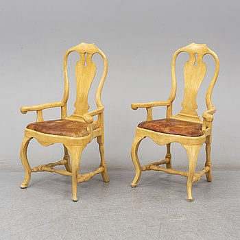 A pair of Swedish late Baroque 18th century armchair.