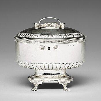 201. A Swedish 19th century silver sugar-casket, mark of Anders Lundqvist, Stockholm 1826.