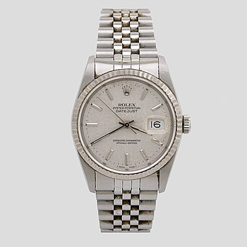 "ROLEX, Oyster Perpetual, Datejust, ""Linen Dial"", Chronometer, wristwatch, 36 mm."