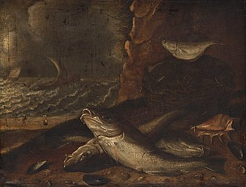 507. Willem Ormea In the manner of the artist, Fishes on a beach.