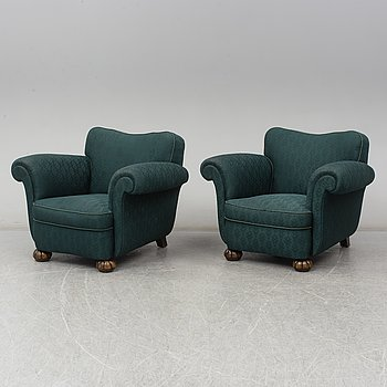A pair of 1930s / 40s armchairs.