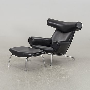 "HANS J WEGNER, ""Ox chair"" lounge chair and stool."