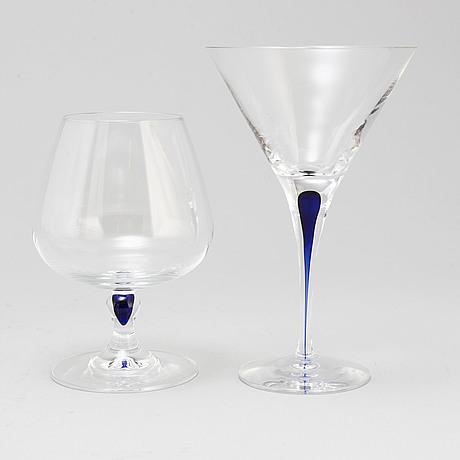 "Erika lagerbielke, cocktailglas samt cognacskupor, 12+7 st, ""intermezzo"", orrefors"
