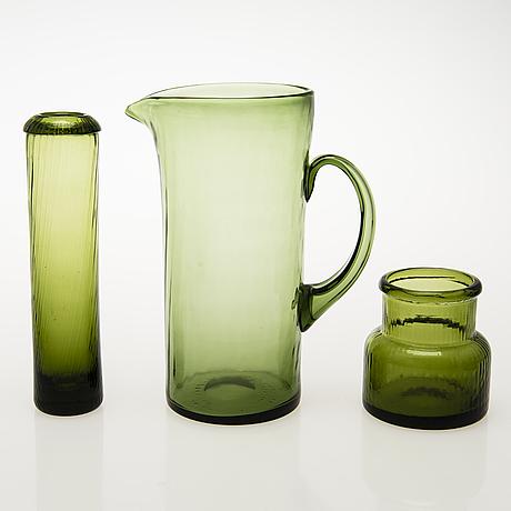 "Nanny still, kaadin, juomalaseja, 6 kpl, purkki ja maljakko, ""neptuna"" nanny still, riihimäen lasi 1964-65."