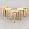 Alvar aalto, a set of five 'e60' stools.