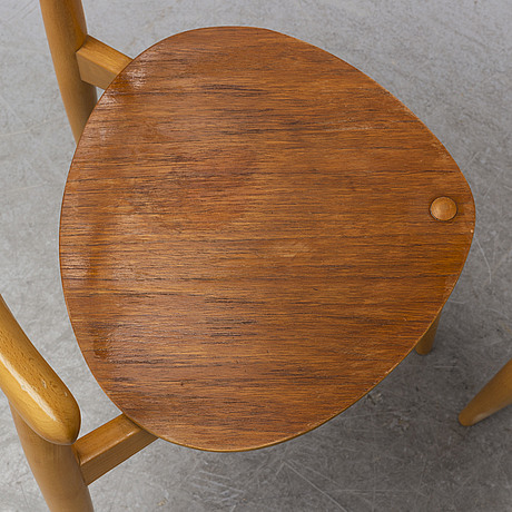 A set of three 'the heart chair' by hans j wegner, for fritz hansen, denmark