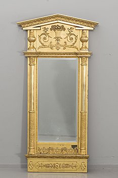 AN EMPIRE STYLE MIIRROR AND CONSOLE TABLE, first half of the 20th century.