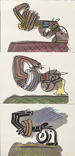 Carl fredrik reuterswÄrd, three signed and numbered serigraphes