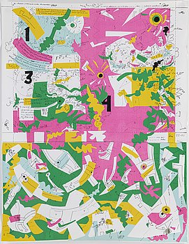 ELIS ERIKSSON, collage on lithographic ground, signed and daterad 68.