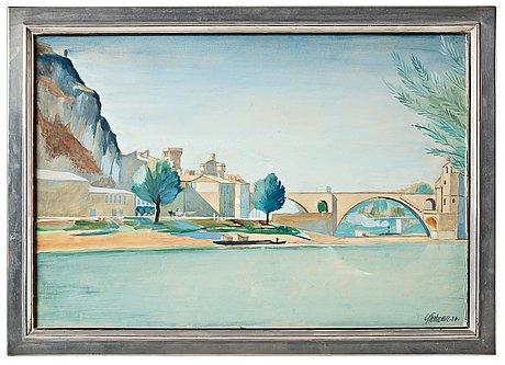 Gunnar torhamn, a watercolour and gouache, 1926, with a pewter and brass frame, svenskt tenn, stockholm 1928, provenance estrid ericson.