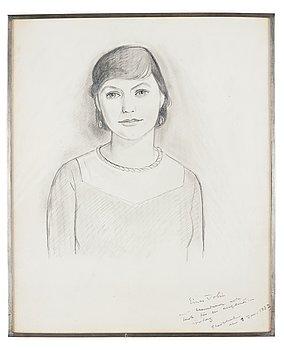 275. Einar Jolin, pencil, a portrait of Estrid Ericson, signed 1932, in a pewter frame, Svenskt Tenn, provenance Estrid Ericson.