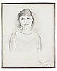 Einar jolin, pencil, a portrait of estrid ericson, signed 1932, in a pewter frame, svenskt tenn, provenance estrid ericson.