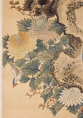 A chinese hanging scroll, ink and colour on paper, 20th century, provenance estrid ericson.