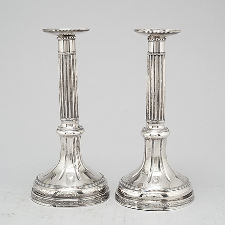 A pair of swedish 18th century silver candlesticks, mark of peter johan zetterling, linköping 1792.