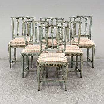 Six matched Gustavian-style chairs, 19th century.
