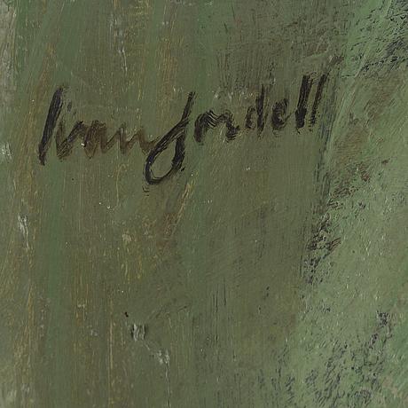 Ivan jordell, olja på pannå, signerad