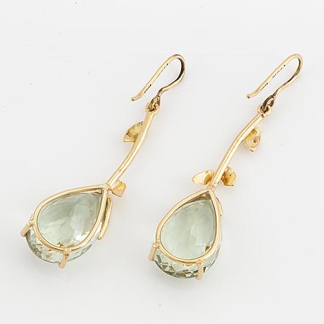 Prasiolite and brilliant-cut diamond earrings.