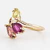 Multi-coloured tourmaline and brilliant-cut diamond spray ring.