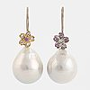 Cultured baroque south sea pearl and pink sapphire and brilliant-cut diamond earrings.