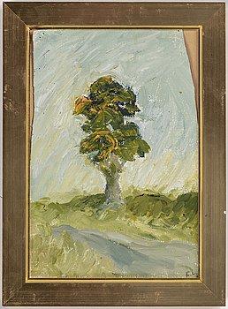 EVERT LUNDQUIST, olja på duk uppfäst på papp-pannå, signerad E.L. Möjligen utförd 1976.