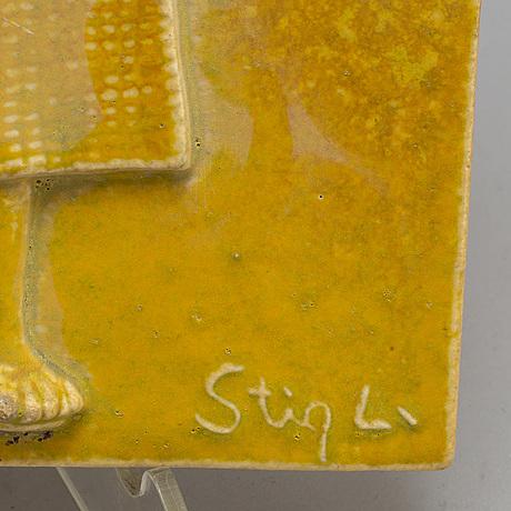 Stig lindberg, a stoneware wallplate, gustavsberg