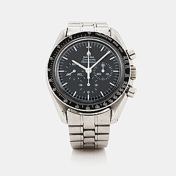 "7. OMEGA, Speedmaster, chronograph, ""Straight Writing"", ""Tachymeter Base 1000""."