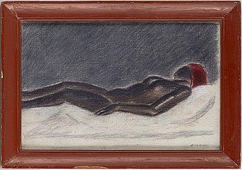 OLLE NYMAN, mixed media on canvas, signed O. Nyman.