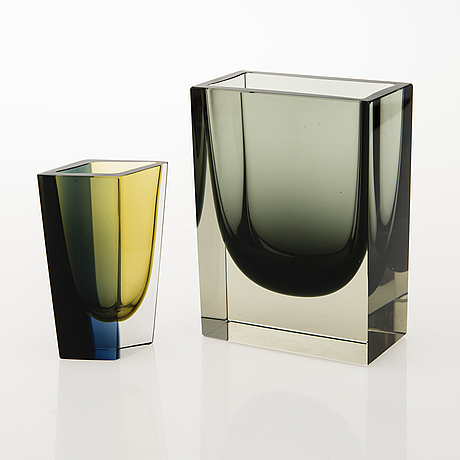 Kaj franck, two glass vases, signed. nuutajärvi, finland 1960s