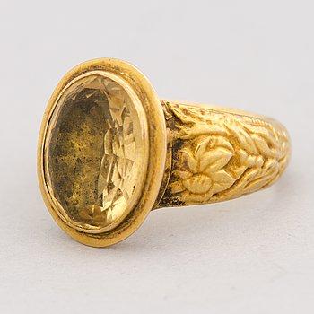 RING, fasettslipad citrin, 18K guld. Gustaf Mauritz Åkerblom 1851.