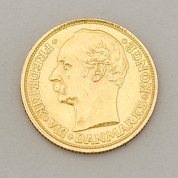 Gold coin 20 kroner Fredrik VIII, Denmark, 1911, weight 9 grams.