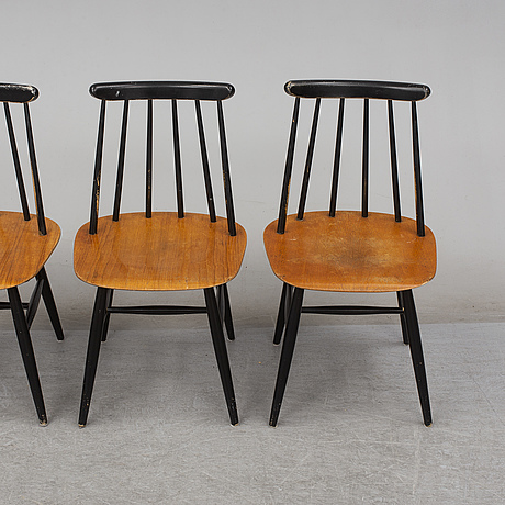 Four 'fanett' chairs by ilmari tapiovaara, edsbyverken, sweden