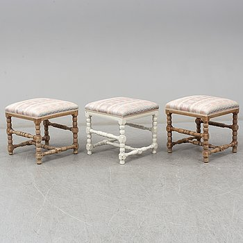 A set of three 18th century  Baroque stools.
