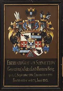 VAPENSKÖLD, Johanniterorden för  greve generalmajor Eberhard Graf von Schmettow, 1913.