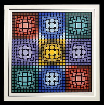 VICTOR VASARELY, colour lithographe, signed and numbered 219/300.