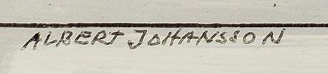 Albert johansson, oil on board, signed.
