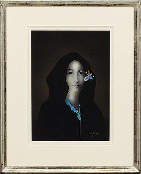 PAUL WUNDERLICH, inkbrush/akvarell, signerad.