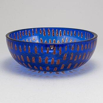 """SVEN PALMQVIST, a """"Ravenna"""" glass bowl, Orrefors, Sweden 1989."""