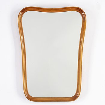 A beech framed Swedish Modern mirror, 1940's.