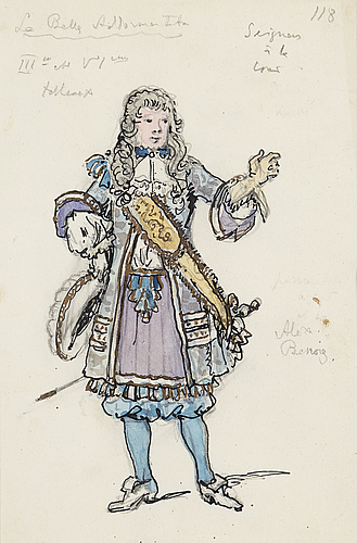 "Alexandre benois, watercolor and ink on paper, two costume designs for the ballet  ""la belle endormentata"", signed."